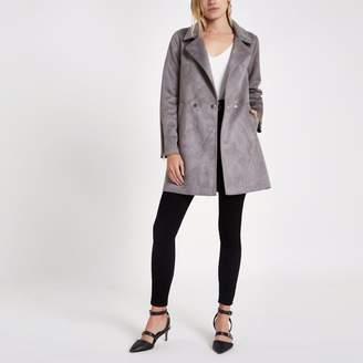 River Island Womens Grey faux suede swing coat