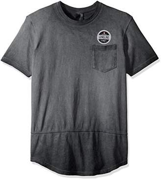 Southpole Men's Short Sleeve Surface Dyed Scallop Tee With Chest Pocket