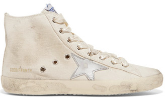 Golden Goose Deluxe Brand - Francy Distressed Leather-paneled Canvas High-top Sneakers - Neutral $495 thestylecure.com