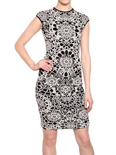 Alexander McQueen Silk Wool Jacquard Dress