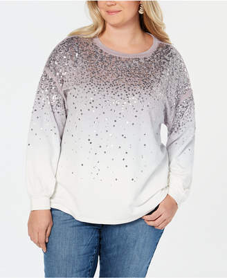 INC International Concepts I.n.c. Plus Size Sequined Dip-Dye Sweatshirt