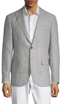 Caruso Houndstooth Linen Jacket