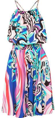 Emilio Pucci Printed Jersey Mini Dress - Blue