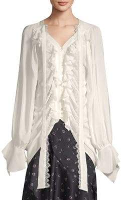 The Kooples Silk Ruffled Shirt