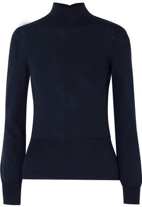 Jacquemus Baya Cutout Cotton-blend Turtleneck Sweater - Navy