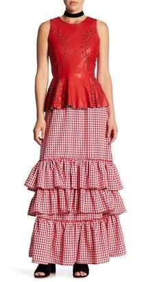 TOV Gingham Tiered Hem Maxi Skirt