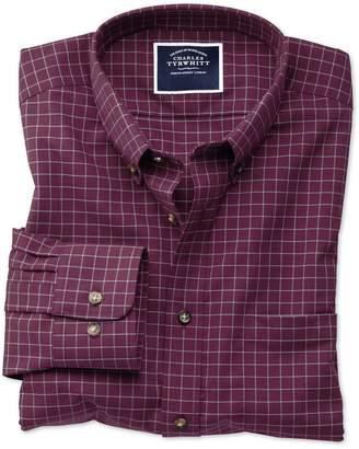 Charles Tyrwhitt Extra Slim Fit Non-Iron Berry Check Twill Cotton Casual Shirt Single Cuff Size XXL