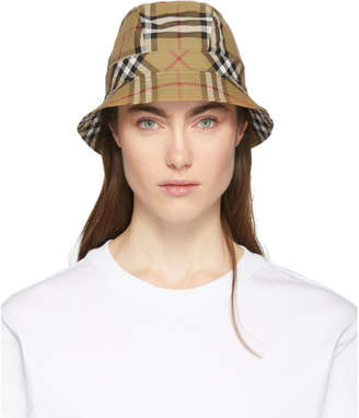Burberry Beige Rainbow Vintage Check Bucket Hat