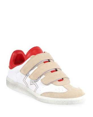 Isabel Marant Beth Leather/Suede Grip-Strap Sneakers
