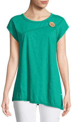 Neon Buddha Playa Slub Jersey Asymmetric Top with Coconut Button, Plus Size