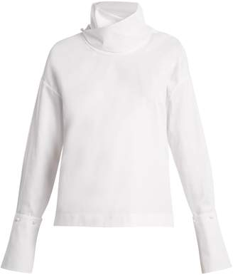 ADAM by Adam Lippes Crossover funnel-neck cotton top