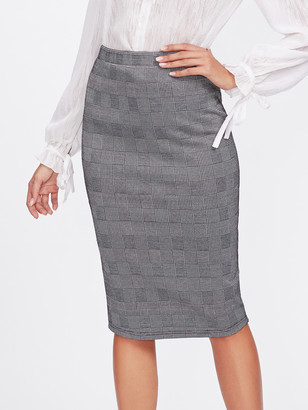 Shein Vented Back Plaid Pencil Skirt