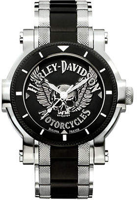 Harley-Davidson The Winged Skull Stainless Steel Analog Watch