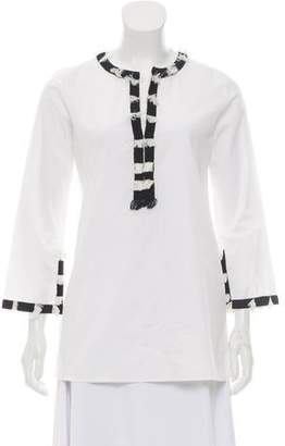 Figue Long Sleeve Notched Neck Tunic