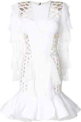 Balmain pleated perforated dress
