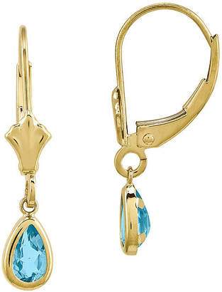 FINE JEWELRY Genuine Swiss Blue Topaz 14K Yellow Gold Blue Topaz Earrings
