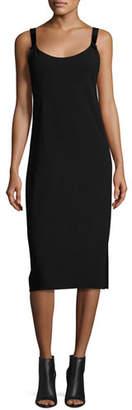 Maiyet Open-Back Sleeveless Slip Dress, Black
