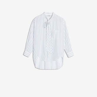 Balenciaga New Swing Shirt in white, green and blue striped poplin