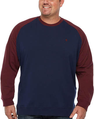 Izod Advantage Raglan Color Block Crew Long Sleeve Sweatshirt Big and Tall