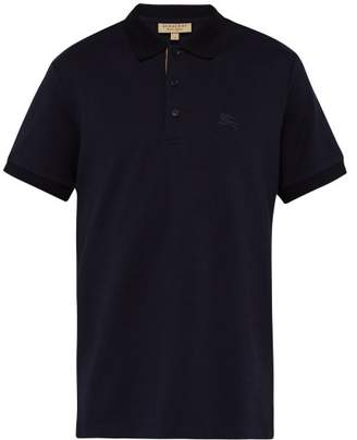 Burberry Logo Embroidered Cotton Pique Polo Shirt - Mens - Navy