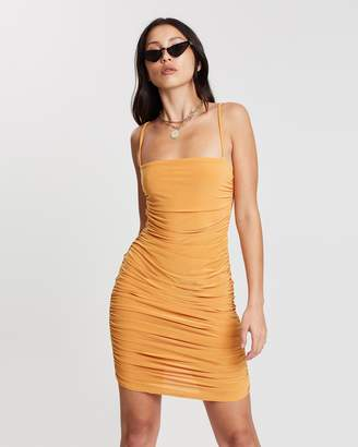 Missguided Strappy Slinky Ruched Bodycon Mini Dress