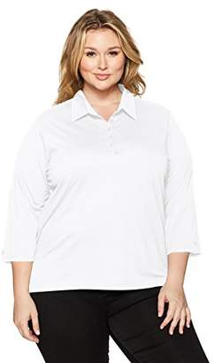 Chic Classic Collection Women's Plus Size 3/4 Sleeve Collared Knit Shirt