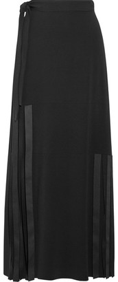 Helmut Lang - Fringed Stretch-cady Maxi Skirt - Black $595 thestylecure.com