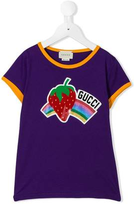 Gucci Kids strawberry rainbow print T-shirt