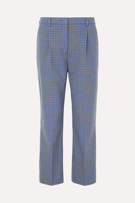 Prada Cropped Checked Wool-blend Straight-leg Pants - Blue