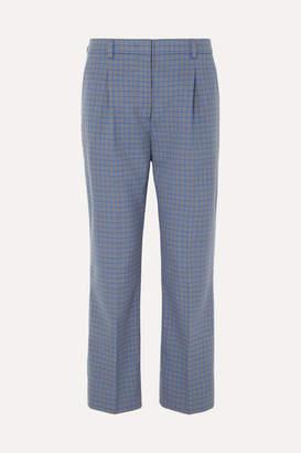 Prada - Cropped Checked Wool-blend Straight-leg Pants - Blue