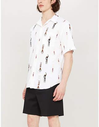 Thom Browne Swimmer-print regular-fit cotton-poplin shirt