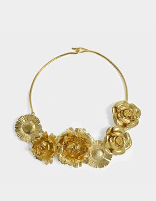 Aurelie Bidermann Selena Necklace With Flowers in 18K Gold-Plated Brass