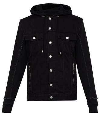 Balmain Contrast Panel Hooded Denim Jacket - Mens - Black