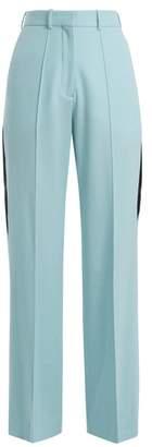 Racil - Cumberland Side Stripe Wide Leg Wool Trousers - Womens - Blue Multi