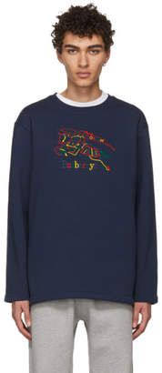 Burberry Navy Rainbow Check Knight Crest Sweatshirt