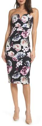 TFNC Halo Floral Strapless Sheath Dress