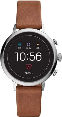 Fossil Q Venture HR Gen 4 Leather Strap Smart Watch, 40mm