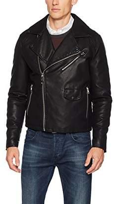 Burton Menswear London Men's Asymmetric Biker Jacket,Large