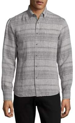 Black & Brown Black Brown Striped Linen Button-Down Shirt