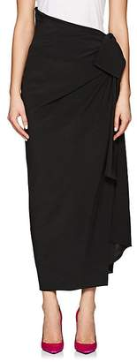 Saint Laurent Women's Gathered Silk Crêpe De Chine Asymmetric Maxi Skirt