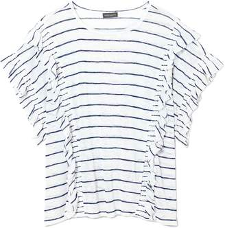 Vince Camuto Striped Ruffle T-shirt