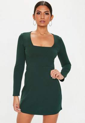 Missguided Green Square Neck Shift Dress