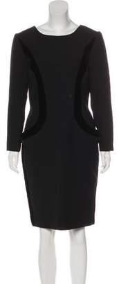 Oscar de la Renta Long Sleeve Knee-Length Dress