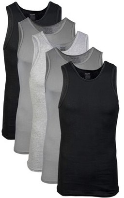Gildan Men's Cotton Ribbed Assorted Color A-Shirt, 5-Pack
