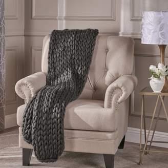Noble House Marlene Acrylic Fabric Throw Blanket,Dark Grey