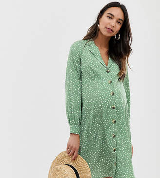 New Look Maternity spot button through dress in green