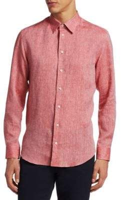 Emporio Armani Washed Linen Button-Down Shirt