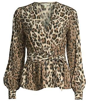 Joie Women's Arin Leopard Print Faux-Wrap Blouse