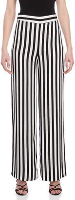 Atos Lombardini Stripe High-Waisted Wide Leg Pants