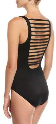 Magicsuit Steffi V-Neck Ladder-Back Solid One-Piece Swimsuit, Plus